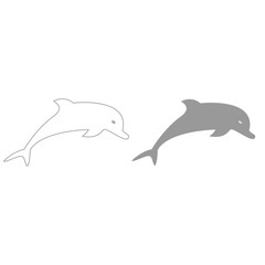 Dolphin grey color set icon .