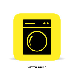 Washing machine icon. Home appliances symbol. Flat sign on white background. Vector