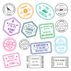 Postal and visa different stamps with airport and city names, also with traveling pictures. Vector illustrations set
