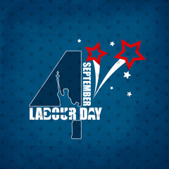Typography Labor Day, September 4th, United state of America, American Labor day design. Labor Day poster design. Stars pattern Blue Background