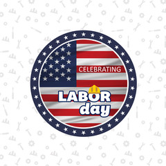 American flag engraved in Circle with typography Happy Labor Day, September 4th, United state of America, American Independence day design. Beautiful USA flag Composition.