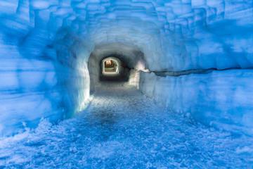 Tunnel in Ice Cave in the Langjokull glacier in Iceland