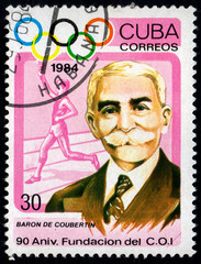 UKRAINE - CIRCA 2017: A postage stamp printed in Cuba shows 90th Anniversary of IOC. Baron Pierre de Coubertin from series Summer Olympics Atlanta, circa 1984