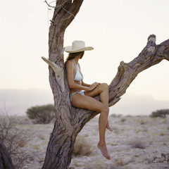 Woman sitting in a tree in the desert