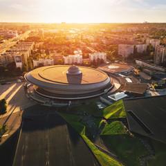 Obraz Katowice Spodek z powietrza - fototapety do salonu