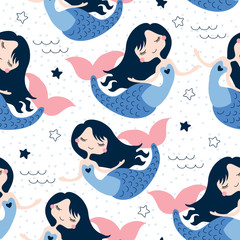 seamless beautiful mermaid girl pattern vector illustration