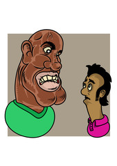 A big afro american guy arguing with a little hindu or Gypsy man. Vector Illustration