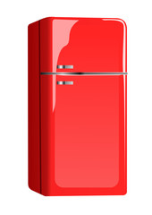 A modern red fridge. Vector illustration