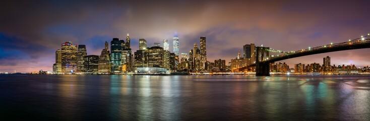 View over Manhattan skyline during sunset