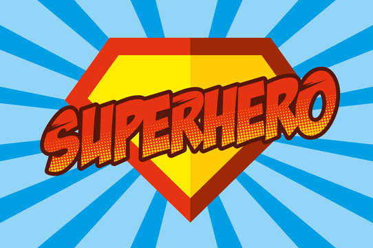 Superhero logo, pop art background