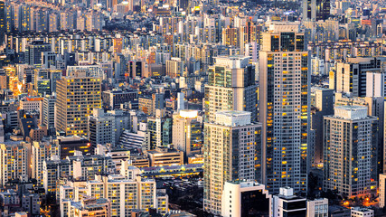 Fototapete - Cityscape of building and hotel in Seoul, South Korea.