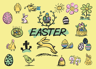 A set of hand drawn Easter related doodles in a loose, colourful style