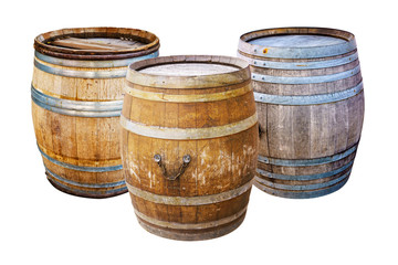 Groups old wooden barrel for champagne, wine, whiskey, rum, beer, with steel ring on white background.