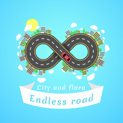 Endless road. Travel time. Cartoon red car. The carriageway. Banner of white ribbon. Cities and settlements. Trees and plants