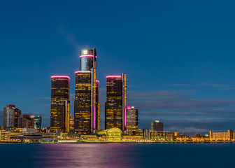 Detroit Riverfront at Night