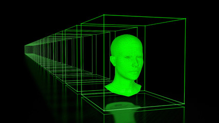 Head with Cuboids in Green