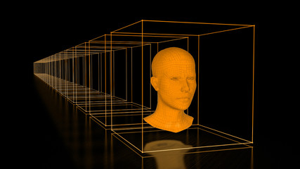 Head with Cuboids in Orange