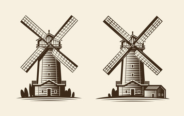 Old wooden mill, windmill logo or label. Agriculture, farming, agribusiness icon. Vintage vector illustration