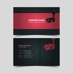 Security Video Surveillance Company Business Card Design Template.