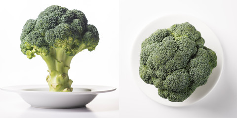 Ripe fresh green cabbage broccoli on a white clean plate.