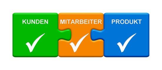 3 Puzzle Buttons zeigen Kunden Mitarbeiter Produkt