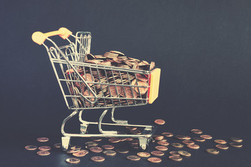 Shopping cart filled with golden coins, conceptual picture, color toning applied.
