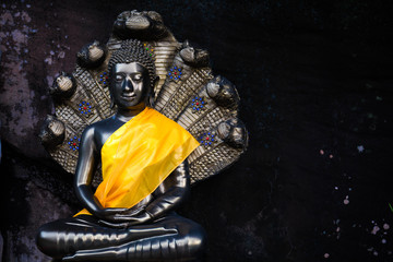 Buddha statue with naka behind