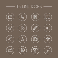 Set Of 16 Creative Outline Icons Set.Collection Of Property Plan, Dslr Camera, Table Lamp And Other Elements.