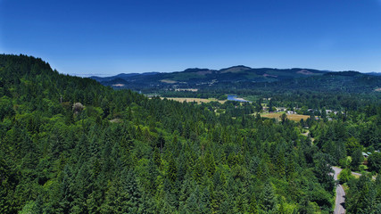 Aerial view of the Oregon countryside, McKenzie River in the distance