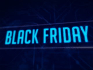 Black Friday text on blue pixels screen 3D rendered with depth of field
