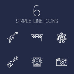 Set Of 6 Cocktail Outline Icons Set.Collection Of Mask, Stars, Electro And Other Elements.