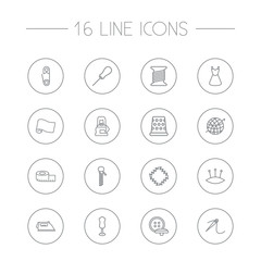 Set Of 16 Sewing Outline Icons Set.Collection Of Tremble, Bobbin, Pincushion And Other Elements.