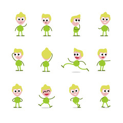 set of a joyful simple character in different poses