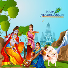 Lord Krishna and Radha on Happy Janmashtami background