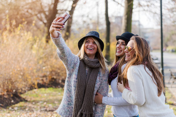 Group of smiling college girls in park taking selfie