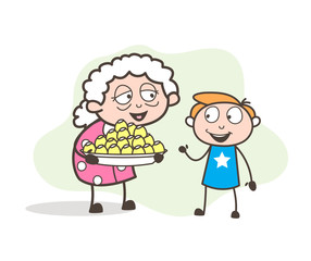 Cartoon Granny Presenting Easter Sweets to Her Grandson Vector Illustration