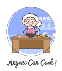 Cartoon Happy Granny Learning Cooking Recipe Vector Illustration