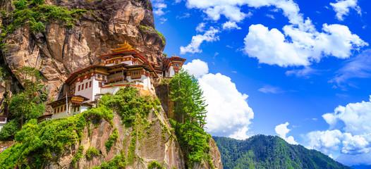 Taktshang Goemba Temple, Tiger nest monastery, Panorama view on a bright day, Paro, Bhutan.