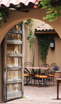 A Glimpse into an Inviting Spanish Courtyard