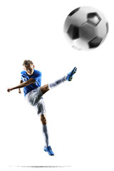Professional football soccer player in action isolated on white