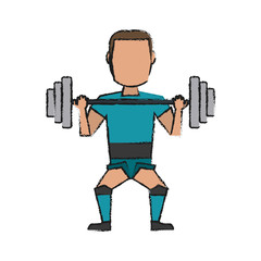 Colorful doodle weightlifter over white background vector illustration