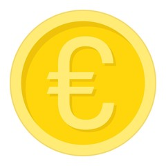 Coin euro flat icon, business and finance, money sign vector graphics, a colorful solid pattern on a white background, eps 10.