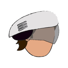 Colorful doodle man with helmet head over white background vector illustration