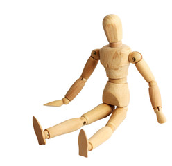 wooden puppet action in white isolated with path
