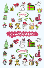 A set of hand drawn Christmas related doodles in a loose, colourful style
