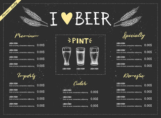 Hand drawn vector illustration - Beer menu (Light / Dark / Red / White). I love beer. Perfect for restaurant brochure, cafe flyer, delivery menu. Design template with illustrations in sketch style.