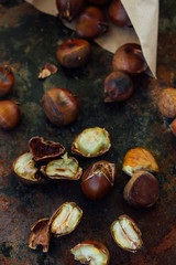 Canvas Prints Cafe Peeled roasted chestnuts