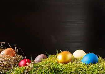 Easter background with Easter eggs. copy space.