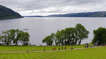Loch Ness vista seen from the grounds of Urquhart Castle, approximately 13 miles from Inverness, Scotland, United Kingdom