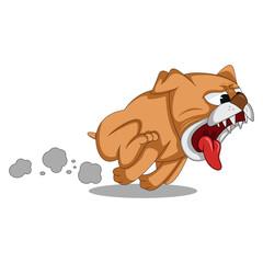 A fierce dog ran and chase cartoon
